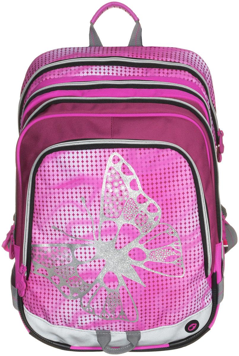 BagMaster Рюкзак детский с наполнением цвет розовый 1 предметBM-S1A 0115 AДетский рюкзак BagMaster обязательно понравится вашей школьнице. Рюкзак выполнен из прочных и высококачественных материалов. Содержит три вместительных отделения, закрывающихся на застежки-молнии с двумя бегунками. Бегунки застежек дополнены удобными металлическими держателями. Внутри первого отделения находятся органайзер для канцелярских принадлежностей, карман-сетка на молнии, карман на липучке под мобильный телефон и лента с карабином для ключей. В двух других отделениях карманов нет. Лицевая сторона рюкзака оснащена накладным вместительным карманом на молнии, внутри которого располагается открытый карман. Рюкзак имеет один боковой карман для бутылки с водой. Специально разработанная архитектура спинки со стабилизирующими набивными элементами повторяет естественный изгиб позвоночника. Набивные элементы обеспечивают вентиляцию спины ребенка. Задняя часть спинки дополнена легкой алюминиевой рамкой, повторяющей контур позвоночника и снимающей нагрузку. Мягкие широкие лямки...