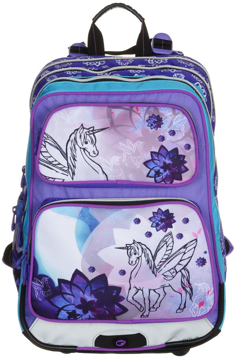 BagMaster Рюкзак детский Gotschy с наполнением цвет фиолетовый 1 предметBM-GOTSCHY 0115 CДетский рюкзак BagMaster Gotschy обязательно понравится вашей школьнице. Рюкзак выполнен из прочных и высококачественных материалов. Содержит три вместительных отделения, закрывающихся на застежки-молнии с двумя бегунками. Бегунки застежек дополнены удобными металлическими держателями. Внутри наибольшего отделения находится карман-сетка на молнии. В другом отделении располагаются открытый кармашек, отделение на липучке для мобильного телефона и три держателя для пишущих принадлежностей. Лицевая сторона рюкзака оснащена двумя накладными карманами на молниях. Рюкзак имеет один боковой карман для бутылки с водой. Специально разработанная архитектура спинки со стабилизирующими набивными элементами повторяет естественный изгиб позвоночника. Набивные элементы обеспечивают вентиляцию спины ребенка. Задняя часть спинки дополнена легкой алюминиевой рамкой, повторяющей контур позвоночника и снимающей нагрузку. Мягкие широкие лямки анатомической формы повторяют естественный изгиб плечевого...