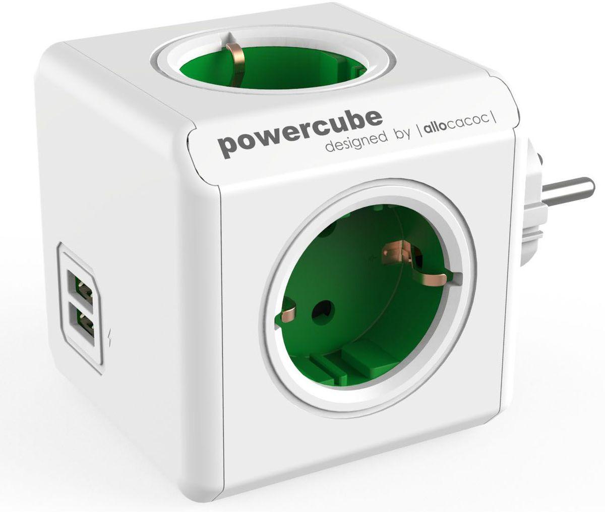 Allocacoc PowerCube Original USB, Green сетевой разветвитель1202GN/DEOUPCРазветвитель Allocacoc PowerCube Original USB это самая популярная версия PowerCube. Наличие 1,5 (3-х) метрового шнура позволяет установить PowerCube в любом месте, располагая розетку в пределах досягаемости, больше нет необходимости лезть под стол, чтобы подключить Ваш ноутбук! PowerCube содержит USB- порт что позволяет заряжать широкий спектр устройств. Находясь в офисе, дома, на совещании или еще где-нибудь, бывает трудно найти свободную розетку для зарядки ноутбука или мобильного телефона. PowerCube решил эту проблему: количество розеток можно расширить, что позволит монтировать индивидуальный источник питания в пределах досягаемости.