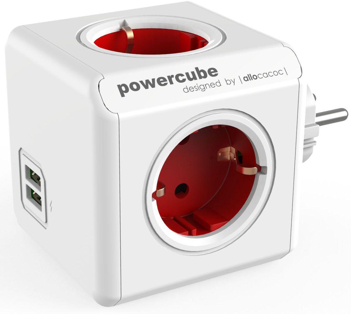 Allocacoc PowerCube Original USB, Red сетевой разветвитель