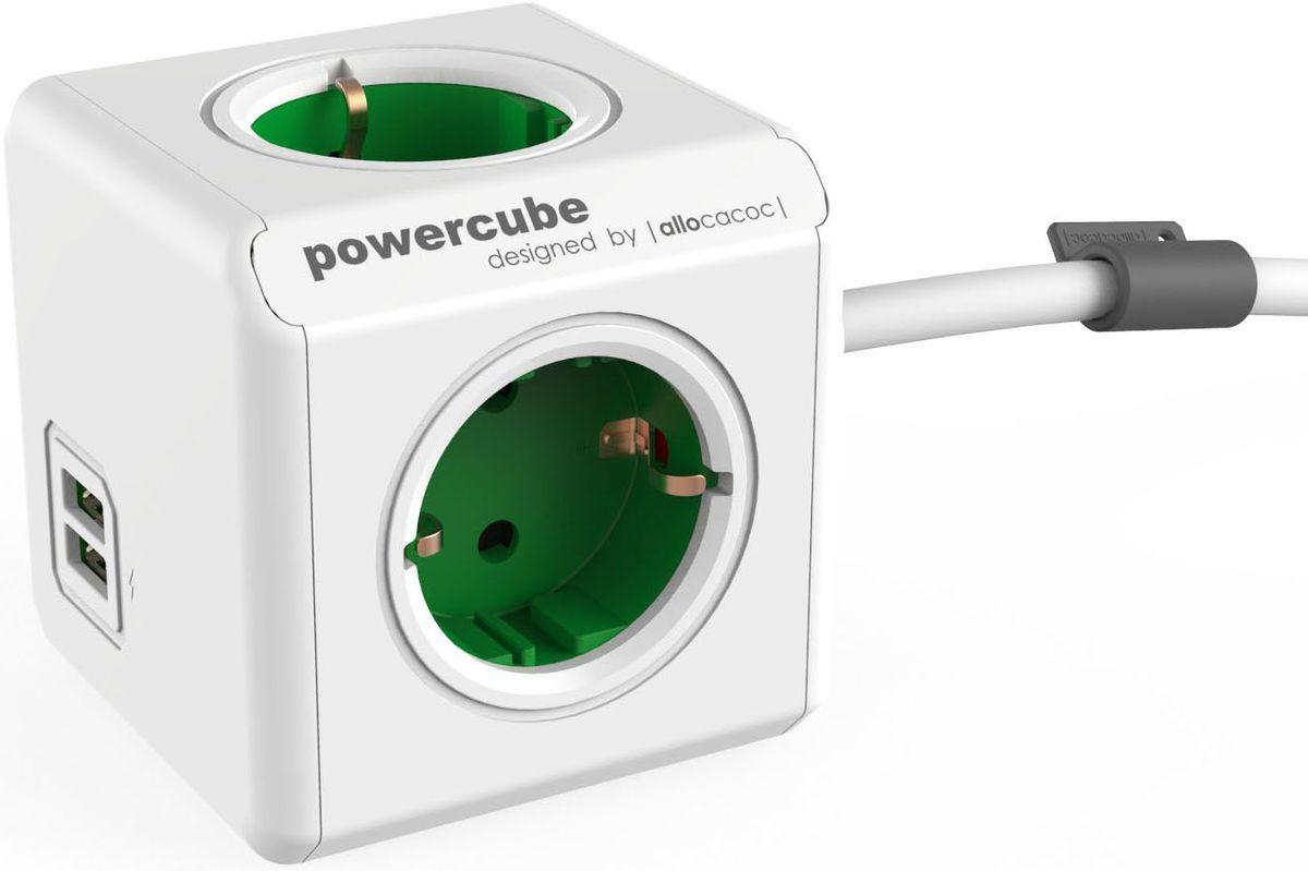 Allocacoc PowerCube Extended USB, Green сетевой разветвитель1402GN/DEEUPCРазветвитель Allocacoc PowerCube Extended USB это самая популярная версия PowerCube. Наличие 1,5 (3-х) метрового шнура позволяет установить PowerCube в любом месте, располагая розетку в пределах досягаемости, больше нет необходимости лезть под стол, чтобы подключить Ваш ноутбук! PowerCube содержит USB- порт что позволяет заряжать широкий спектр устройств. Находясь в офисе, дома, на совещании или еще где-нибудь, бывает трудно найти свободную розетку для зарядки ноутбука или мобильного телефона. PowerCube решил эту проблему: количество розеток можно расширить, что позволит монтировать индивидуальный источник питания в пределах досягаемости.