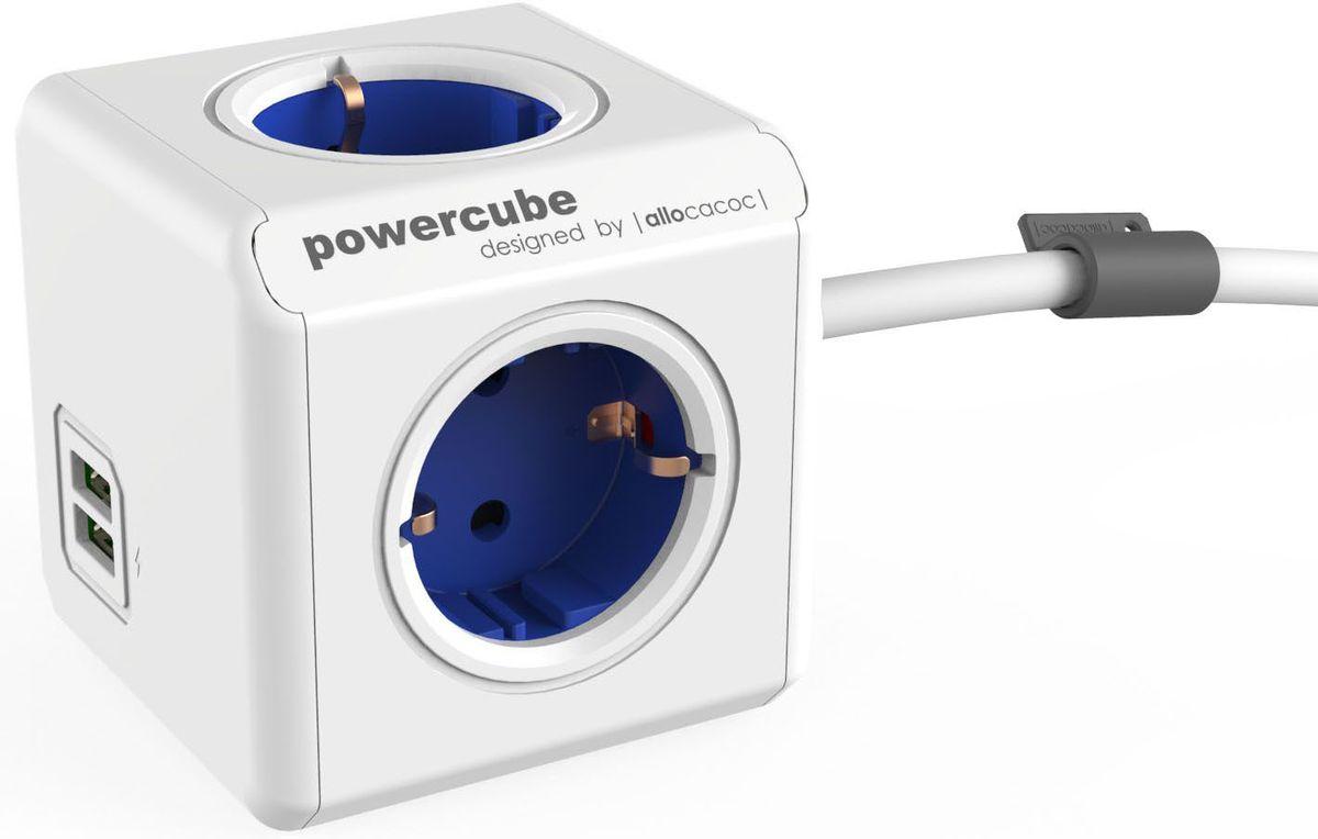 Allocacoc PowerCube Extended USB, Blue сетевой разветвитель1402BL/DEEUPCРазветвитель Allocacoc PowerCube Extended USB это самая популярная версия PowerCube. Наличие 1,5 (3-х) метрового шнура позволяет установить PowerCube в любом месте, располагая розетку в пределах досягаемости, больше нет необходимости лезть под стол, чтобы подключить Ваш ноутбук! PowerCube содержит USB- порт что позволяет заряжать широкий спектр устройств. Находясь в офисе, дома, на совещании или еще где-нибудь, бывает трудно найти свободную розетку для зарядки ноутбука или мобильного телефона. PowerCube решил эту проблему: количество розеток можно расширить, что позволит монтировать индивидуальный источник питания в пределах досягаемости.