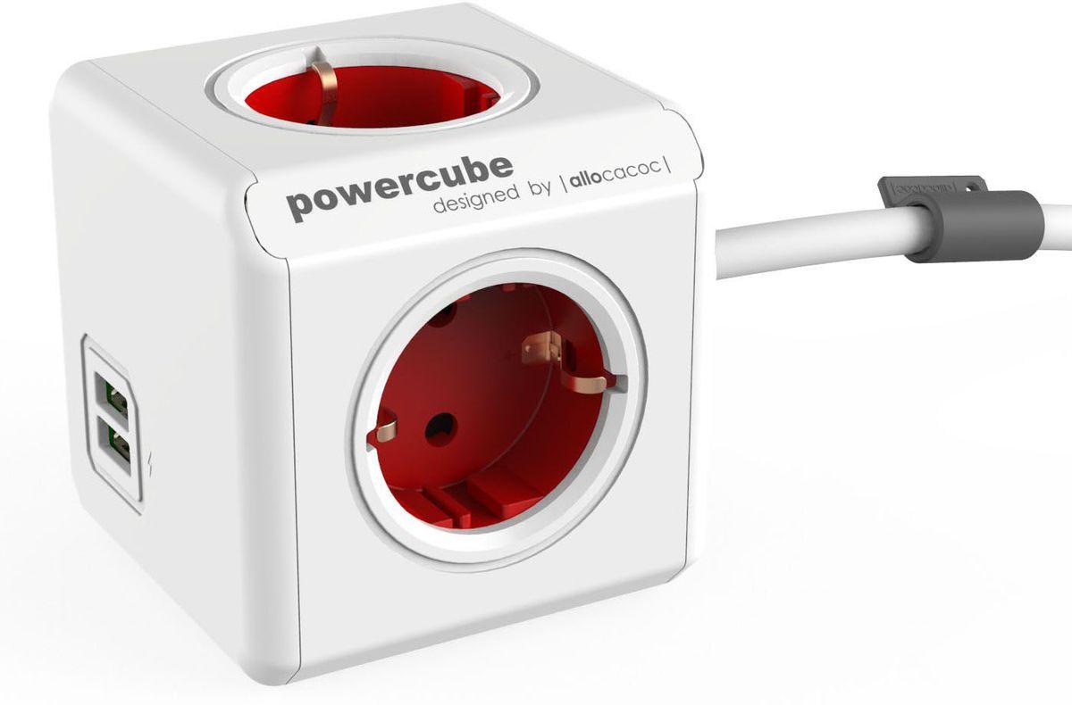 Allocacoc PowerCube Extended USB, Red сетевой разветвитель