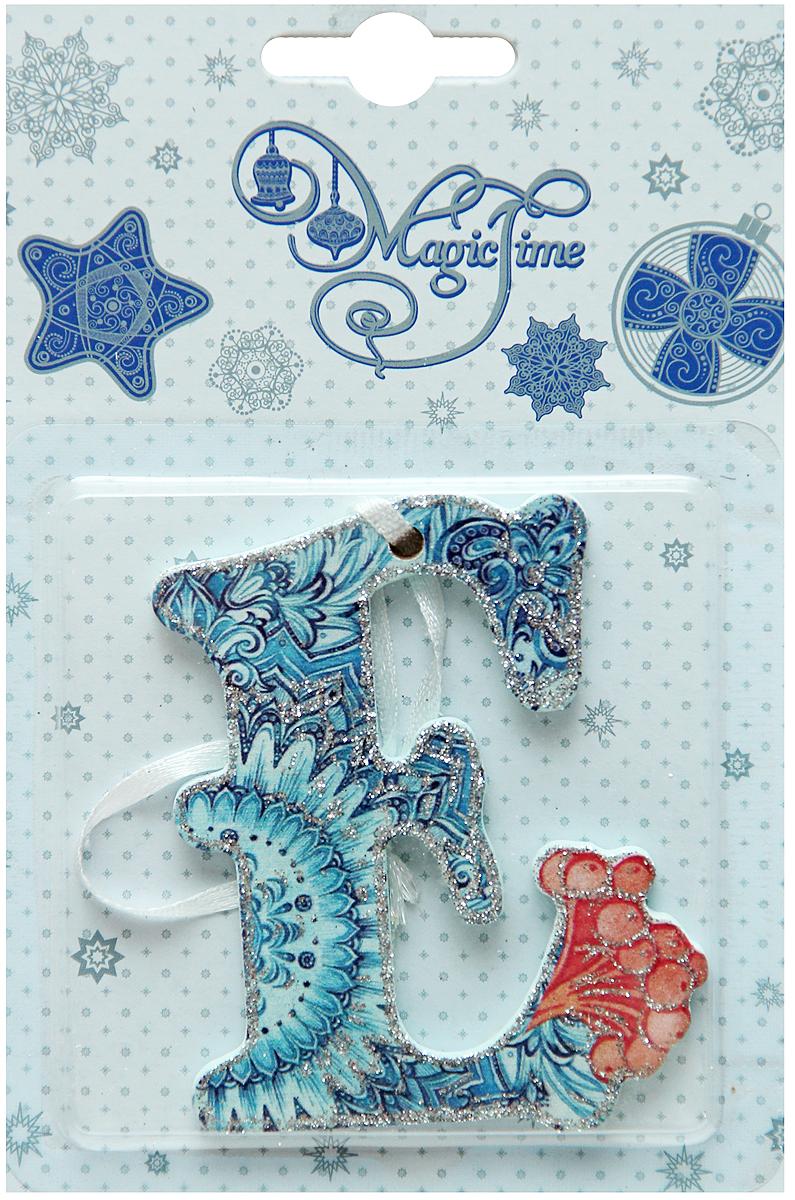 Новогоднее подвесное украшение в виде буквы Magic Time Е, 8х6см. 3844038440Материал: дерево.