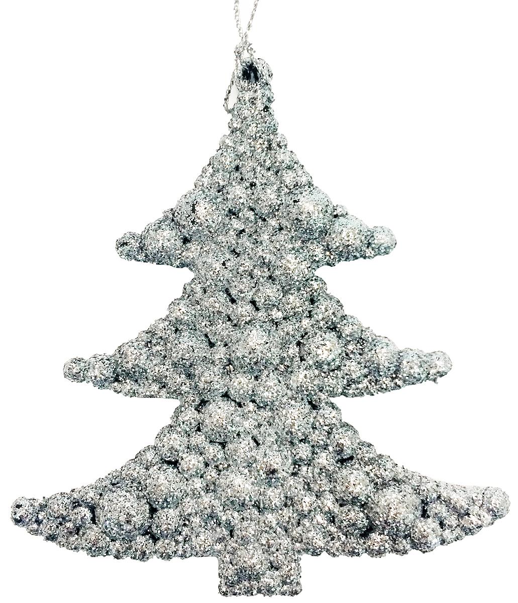 Новогоднее подвесное елочное украшение Magic Time Елочка в серебре, 9х9,5см. 3869638696Материал: пластик, глиттер.