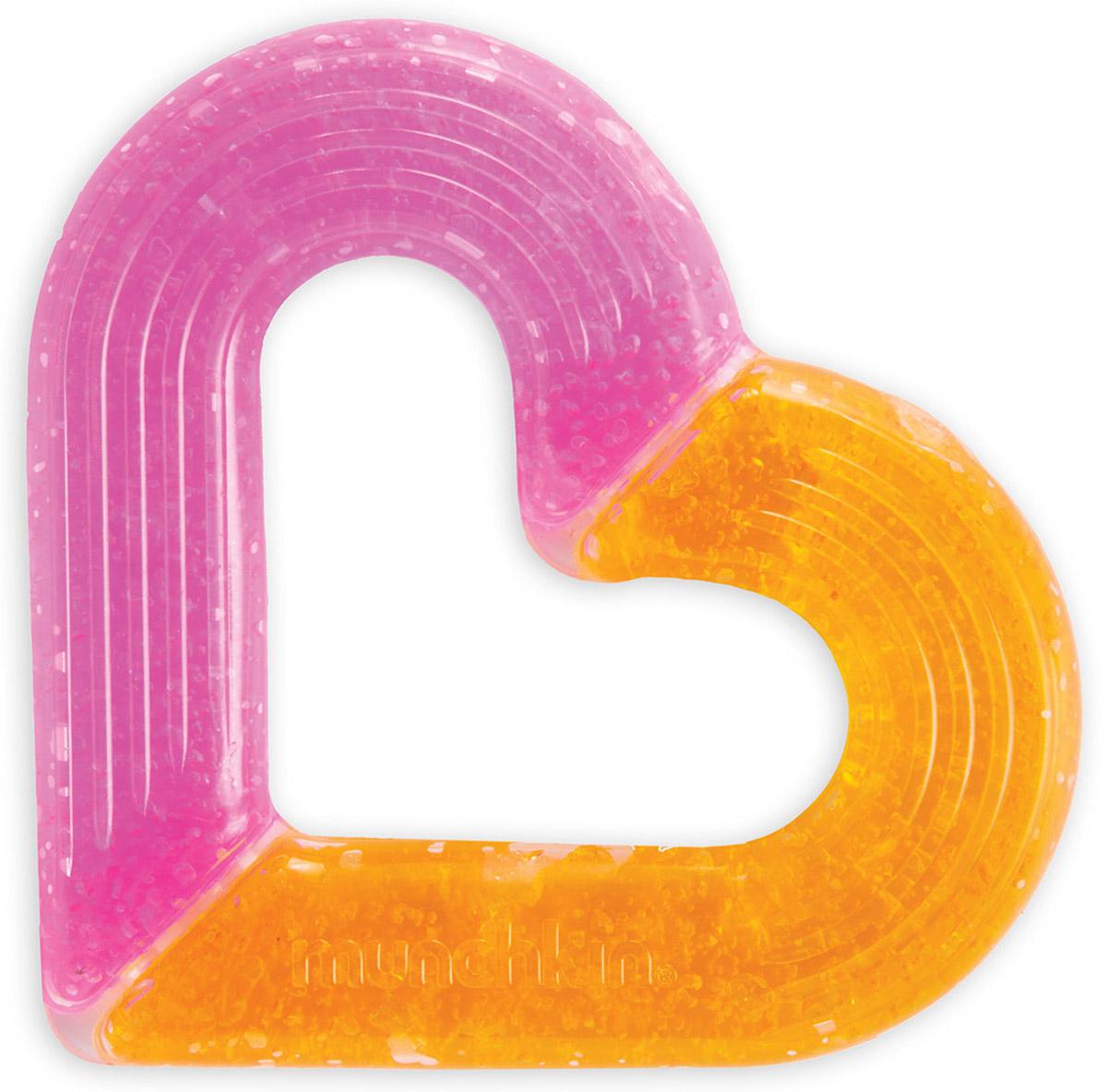 Munchkin Прорезыватель Сердечко цвет розовый оранжевый12323_розовый, оранжевыйПрорезыватель Munchkin Сердечко прекрасно подойдет малышу в период появления первых зубов. Прорезыватель Сердечко с гелем внутри можно охладить в холодильнике, благодаря чему он быстрее снимет боль и облегчит самочувствие малыша в период прорезывания зубов. Прорезыватель обеспечивает мягкое давление и стимулирует десны, когда начинают резаться зубы. Нежная текстурированная поверхность массирует десны и приятна для жевания. Размер прорезывателя удобен для маленьких рук. Изготовлен из прочного безопасного материала. Не содержит бисфенол А и поливинилхлорид.