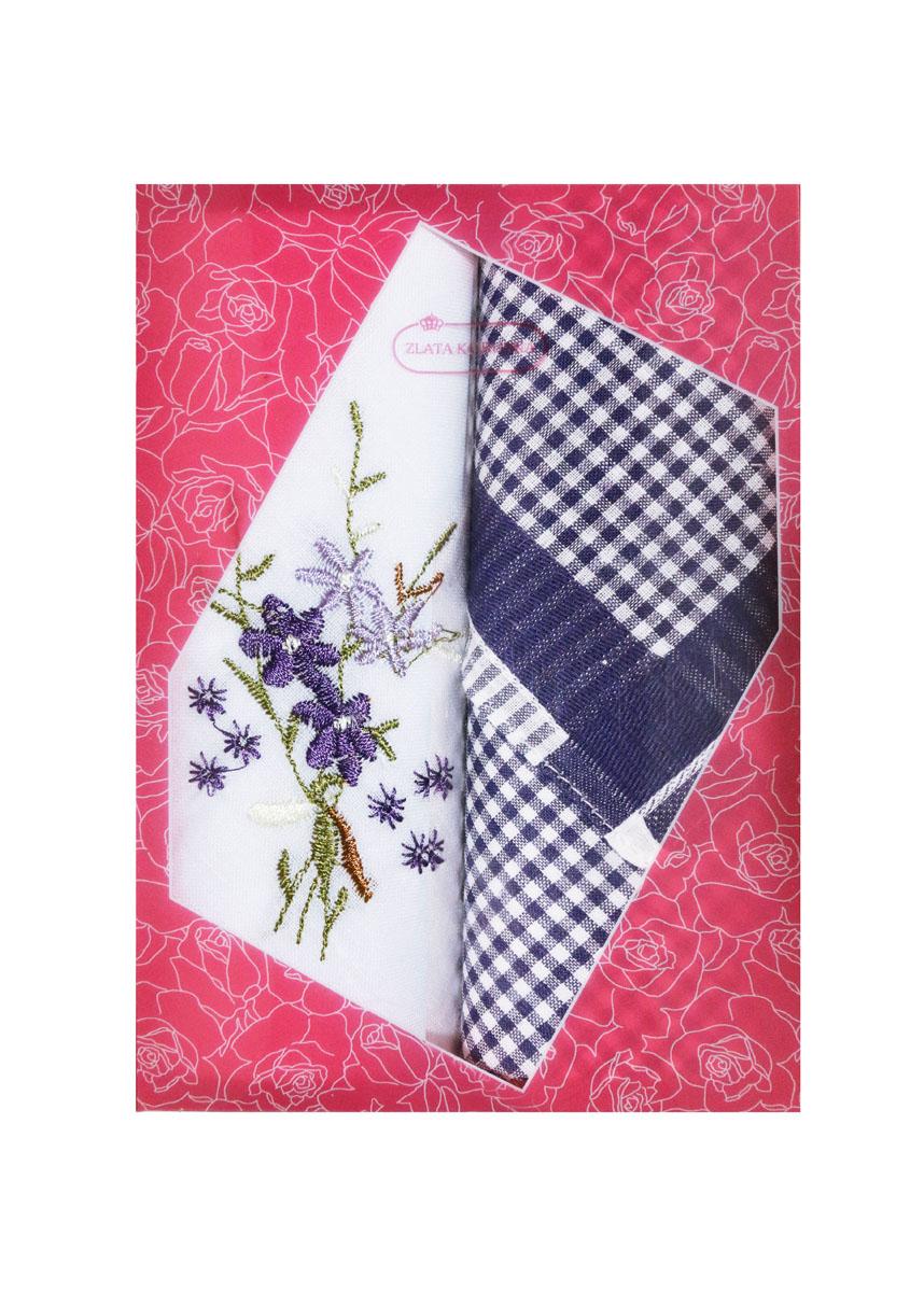 Платок носовой женский Zlata Korunka, цвет: белый, темно-синий, 2 шт. 40222-18. Размер 29 см х 29 см40222-18Небольшой женский носовой платок Zlata Korunka изготовлен из высококачественного натурального хлопка, благодаря чему приятен в использовании, хорошо стирается, не садится и отлично впитывает влагу. Практичный и изящный носовой платок будет незаменим в повседневной жизни любого современного человека. Такой платок послужит стильным аксессуаром и подчеркнет ваше превосходное чувство вкуса. В комплекте 2 платка.