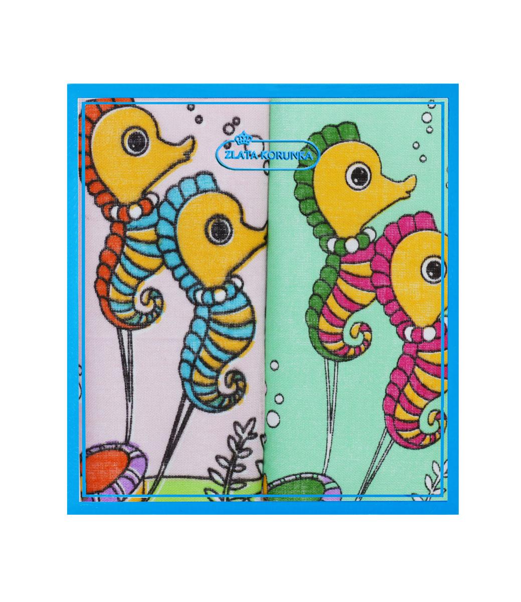 Платок носовой детский Zlata Korunka, цвет: мультиколор, 2 шт. 40230-32. Размер 21 см х 21 см40230-32Детский носовой платок Zlata Korunka изготовлен из высококачественного натурального хлопка, благодаря чему приятен в использовании, хорошо стирается, не садится и отлично впитывает влагу, а также не раздражает нежную детскую кожу. Небольшой и практичный детский платочек без труда поместится в карман или школьный рюкзак ребенка и всегда будет под рукой. В комплекте 2 платка.