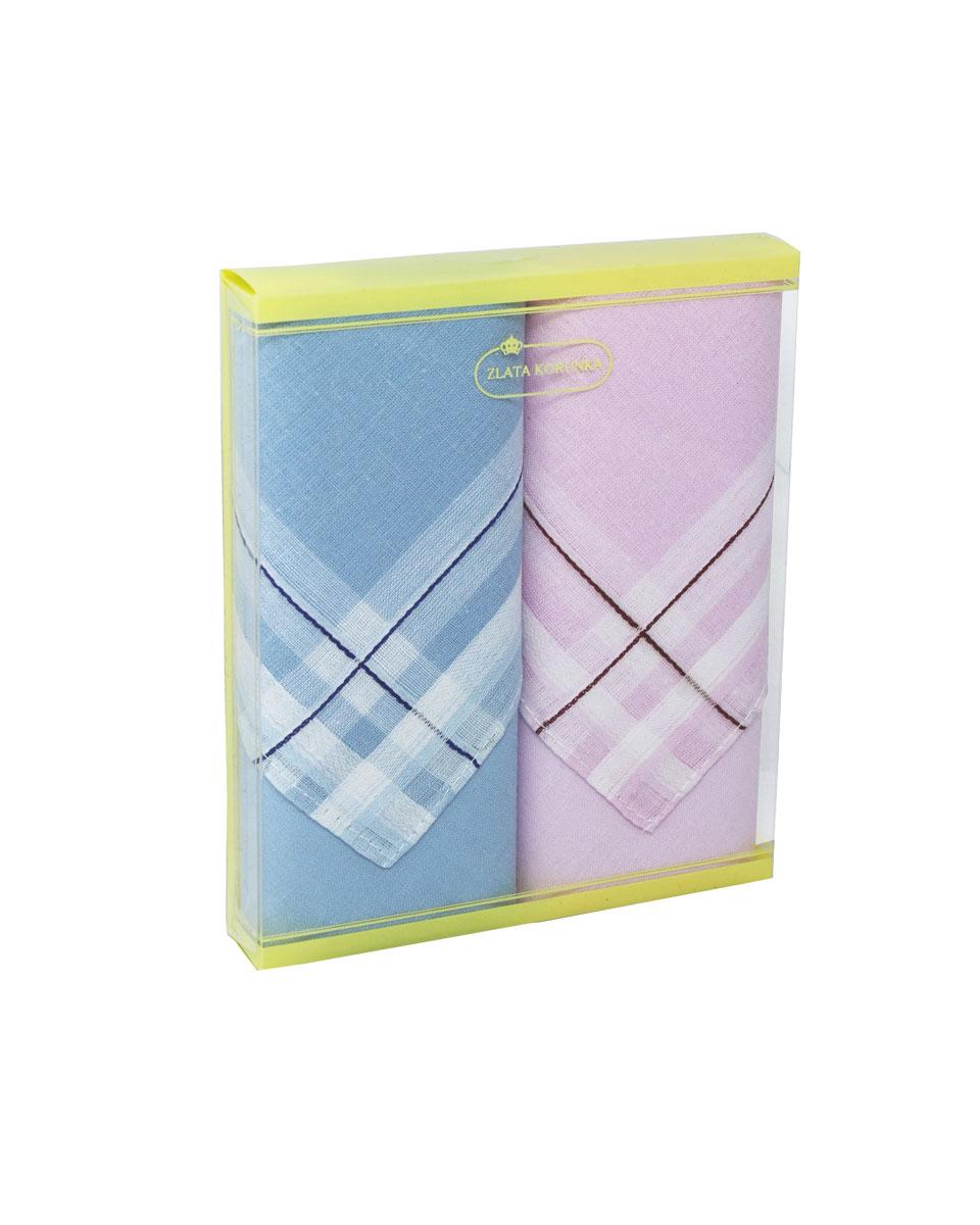 Платок носовой женский Zlata Korunka, цвет: голубой, розовый, 2 шт. 71225-5. Размер 34 см х 34 см71225-5Небольшой женский носовой платок Zlata Korunka изготовлен из высококачественного натурального хлопка, благодаря чему приятен в использовании, хорошо стирается, не садится и отлично впитывает влагу. Практичный и изящный носовой платок будет незаменим в повседневной жизни любого современного человека. Такой платок послужит стильным аксессуаром и подчеркнет ваше превосходное чувство вкуса. В комплекте 2 платка.