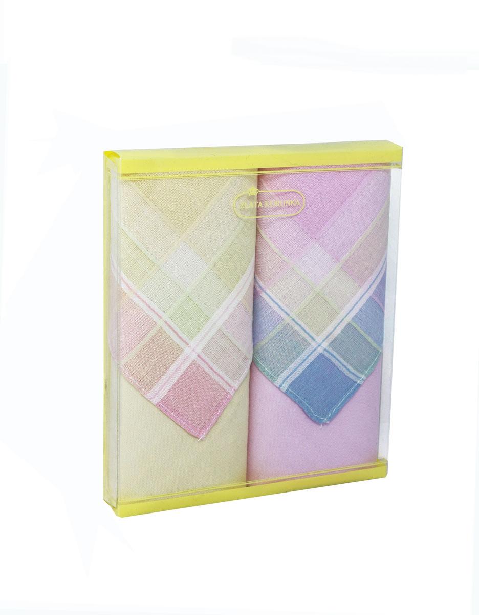 Платок носовой женский Zlata Korunka, цвет: желтый, розовый. 71225-9. Размер 34 х 34 см, 2 шт71225-9Носовой платок Zlata Korunka изготовлен из высококачественного натурального хлопка, благодаря чему приятен в использовании, хорошо стирается, не садится и отлично впитывает влагу. Практичный и изящный носовой платок будет незаменим в повседневной жизни любого современного человека. Такой платок послужит стильным аксессуаром и подчеркнет ваше превосходное чувство вкуса. В комплекте 2 платка.