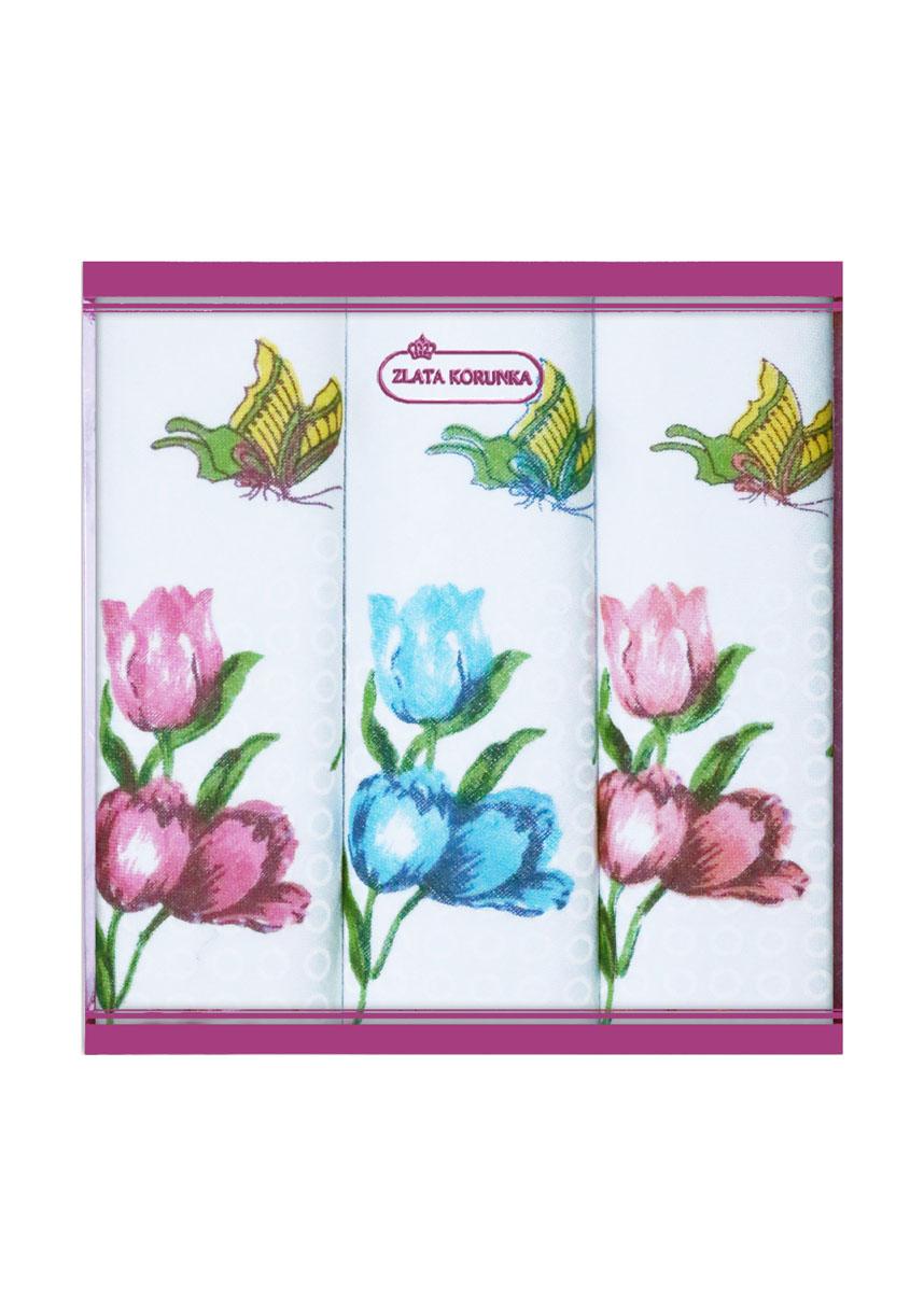 71321-1 Zlata Korunka Носовой платок женский, цвет: мультиколор, 34х34 см, 3 шт71321-1Платки носовые женские в упаковке по 3 шт. Носовые платки изготовлены из 100% хлопка, так как этот материал приятен в использовании, хорошо стирается, не садится, отлично впитывает влагу.
