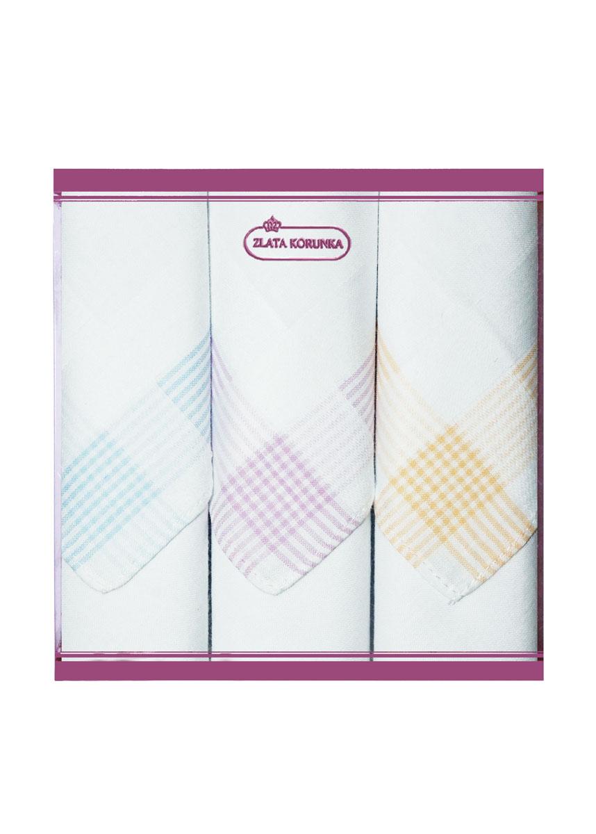 71321-11 Zlata Korunka Носовой платок женский, цвет: мультиколор, 34х34 см, 3 шт71321-11Платки носовые женские в упаковке по 3 шт. Носовые платки изготовлены из 100% хлопка, так как этот материал приятен в использовании, хорошо стирается, не садится, отлично впитывает влагу.