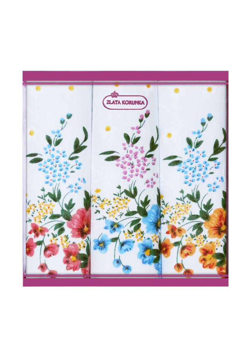 71321-2 Zlata Korunka Носовой платок женский, цвет: мультиколор, 34х34 см, 3 шт71321-2Платки носовые женские в упаковке по 3 шт. Носовые платки изготовлены из 100% хлопка, так как этот материал приятен в использовании, хорошо стирается, не садится, отлично впитывает влагу.