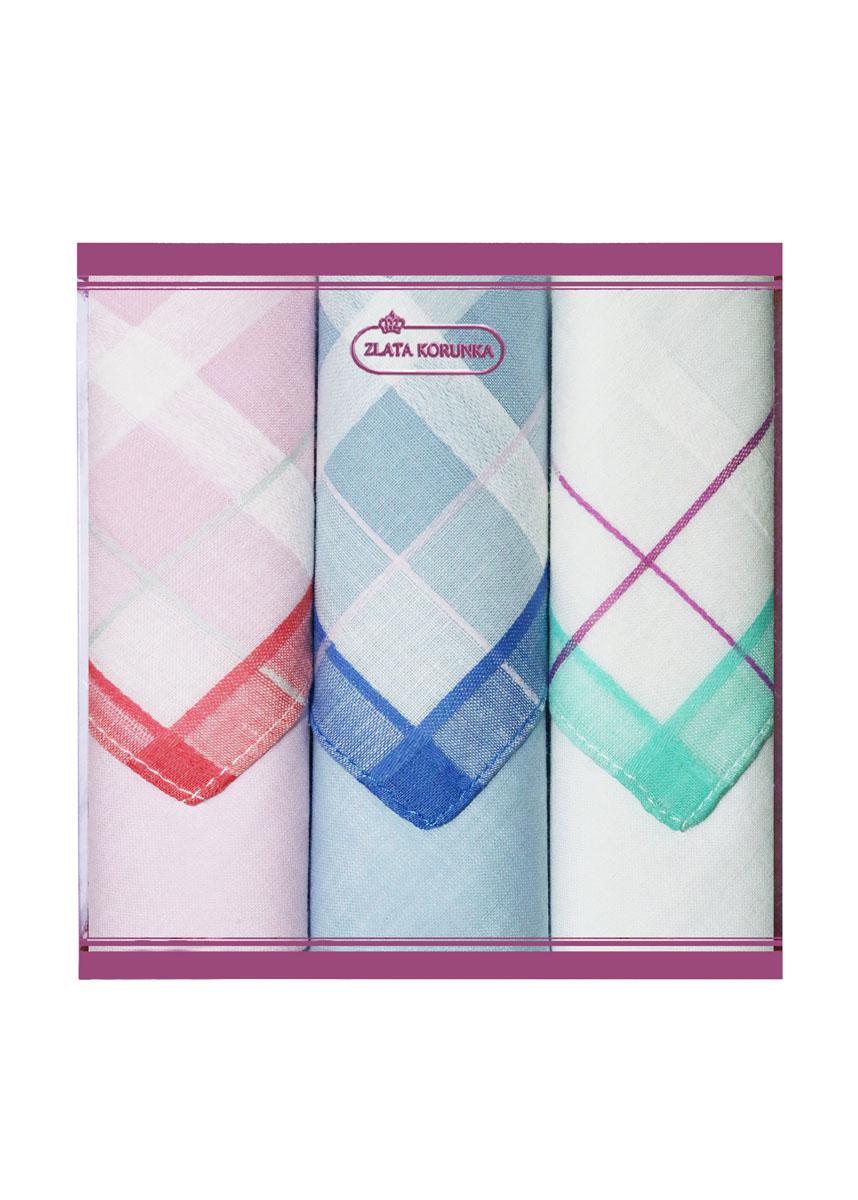 Платок носовой женский Zlata Korunka, цвет: розовый, синий, белый, 3 шт. 71321-3. Размер 34 см х 34 см71321-3Небольшой женский носовой платок Zlata Korunka изготовлен из высококачественного натурального хлопка, благодаря чему приятен в использовании, хорошо стирается, не садится и отлично впитывает влагу. Практичный и изящный носовой платок будет незаменим в повседневной жизни любого современного человека. Такой платок послужит стильным аксессуаром и подчеркнет ваше превосходное чувство вкуса. В комплекте 3 платка.