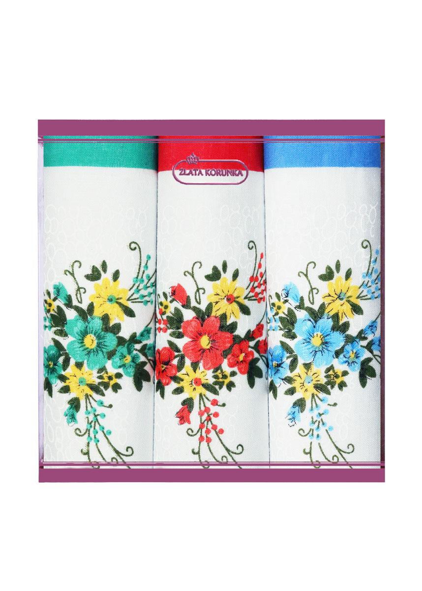71321-4 Zlata Korunka Носовой платок женский, цвет: мультиколор, 34х34 см, 3 шт71321-4Платки носовые женские в упаковке по 3 шт. Носовые платки изготовлены из 100% хлопка, так как этот материал приятен в использовании, хорошо стирается, не садится, отлично впитывает влагу.