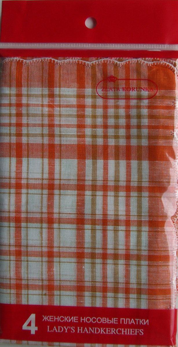 71417 Zlata Korunka Носовой платок женский, цвет: мультиколор, 27х27 см, 4 шт71417Платки носовые женские в упаковке по 4 шт. Носовые платки изготовлены из 100% хлопка, так как этот материал приятен в использовании, хорошо стирается, не садится, отлично впитывает влагу.