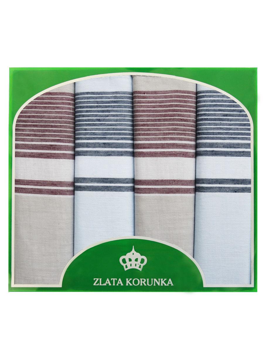 Платок носовой мужской Zlata Korunka, цвет: серый, коричневый, 4 шт. 71419-10. Размер 34 см х 34 см71419-10Оригинальный мужской носовой платок Zlata Korunka изготовлен из высококачественного натурального хлопка, благодаря чему приятен в использовании, хорошо стирается, не садится и отлично впитывает влагу. Практичный и изящный носовой платок будет незаменим в повседневной жизни любого современного человека. Такой платок послужит стильным аксессуаром и подчеркнет ваше превосходное чувство вкуса. В комплекте 4 платка.