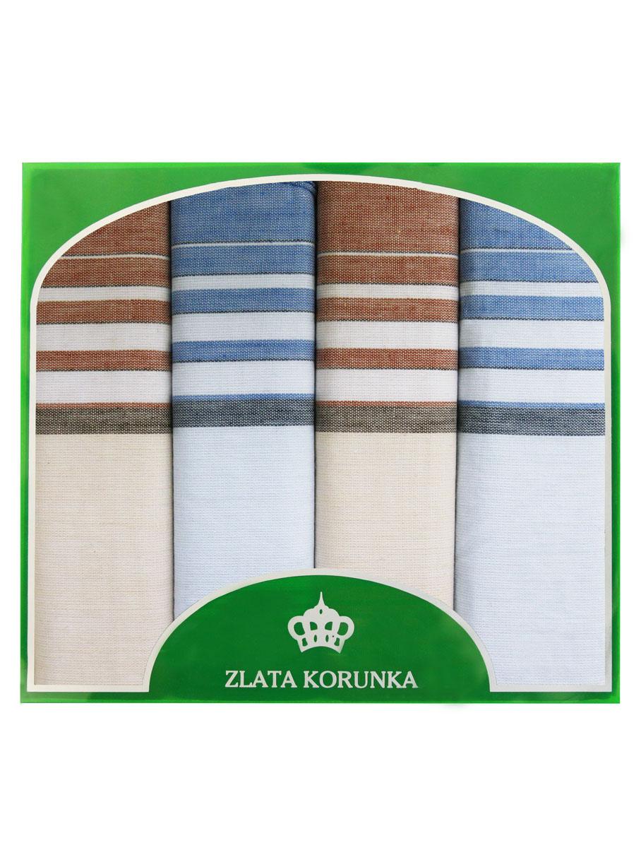 71419-16 Zlata Korunka Носовой платок мужской, цвет: мультиколор, 34х34 см, 4 шт71419-16Платки носовые мужские в упаковке по 4 шт. Носовые платки изготовлены из 100% хлопка, так как этот материал приятен в использовании, хорошо стирается, не садится, отлично впитывает влагу.