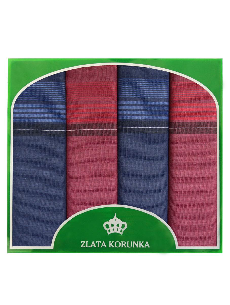 Платок носовой мужской Zlata Korunka, цвет: синий, красный. 71419-20. Размер 34 х 34 см, 4 шт71419-20Носовой платок Zlata Korunka изготовлен из высококачественного натурального хлопка, благодаря чему приятен в использовании, хорошо стирается, не садится и отлично впитывает влагу. Практичный носовой платок будет незаменим в повседневной жизни любого современного человека. Такой платок послужит стильным аксессуаром и подчеркнет ваше превосходное чувство вкуса. В комплекте 4 платка.