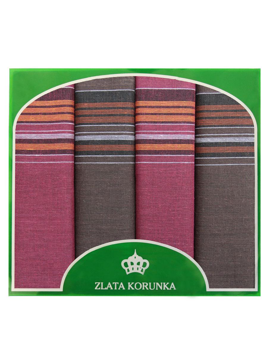 71419-25 Zlata Korunka Носовой платок мужской, цвет: мультиколор, 34х34 см, 4 шт71419-25Платки носовые мужские в упаковке по 4 шт. Носовые платки изготовлены из 100% хлопка, так как этот материал приятен в использовании, хорошо стирается, не садится, отлично впитывает влагу.