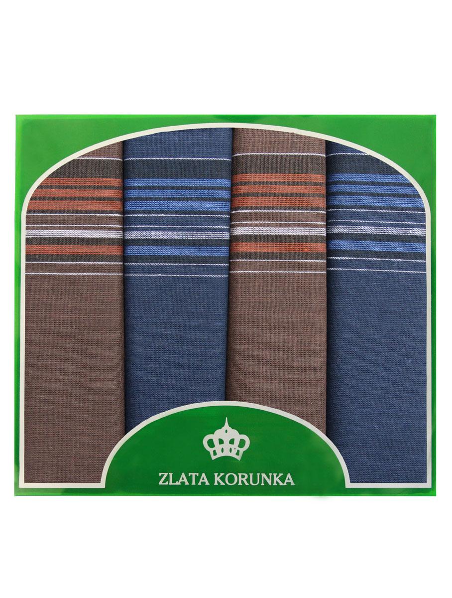 Платок носовой мужской Zlata Korunka, цвет: синий, коричневый. 71419-27. Размер 34 х 34 см, 4 шт71419-27Носовой платок Zlata Korunka изготовлен из высококачественного натурального хлопка, благодаря чему приятен в использовании, хорошо стирается, не садится и отлично впитывает влагу. Практичный носовой платок будет незаменим в повседневной жизни любого современного человека. Такой платок послужит стильным аксессуаром и подчеркнет ваше превосходное чувство вкуса. В комплекте 4 платка.