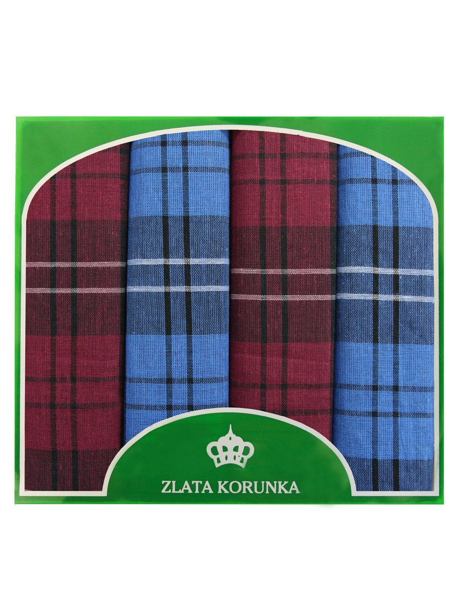 Платок носовой мужской Zlata Korunka, цвет: бордовый, синий, 4 шт. 71419-29. Размер 34 см х 34 см71419-29Оригинальный мужской носовой платок Zlata Korunka изготовлен из высококачественного натурального хлопка, благодаря чему приятен в использовании, хорошо стирается, не садится и отлично впитывает влагу. Практичный и изящный носовой платок будет незаменим в повседневной жизни любого современного человека. Такой платок послужит стильным аксессуаром и подчеркнет ваше превосходное чувство вкуса. В комплекте 4 платка.