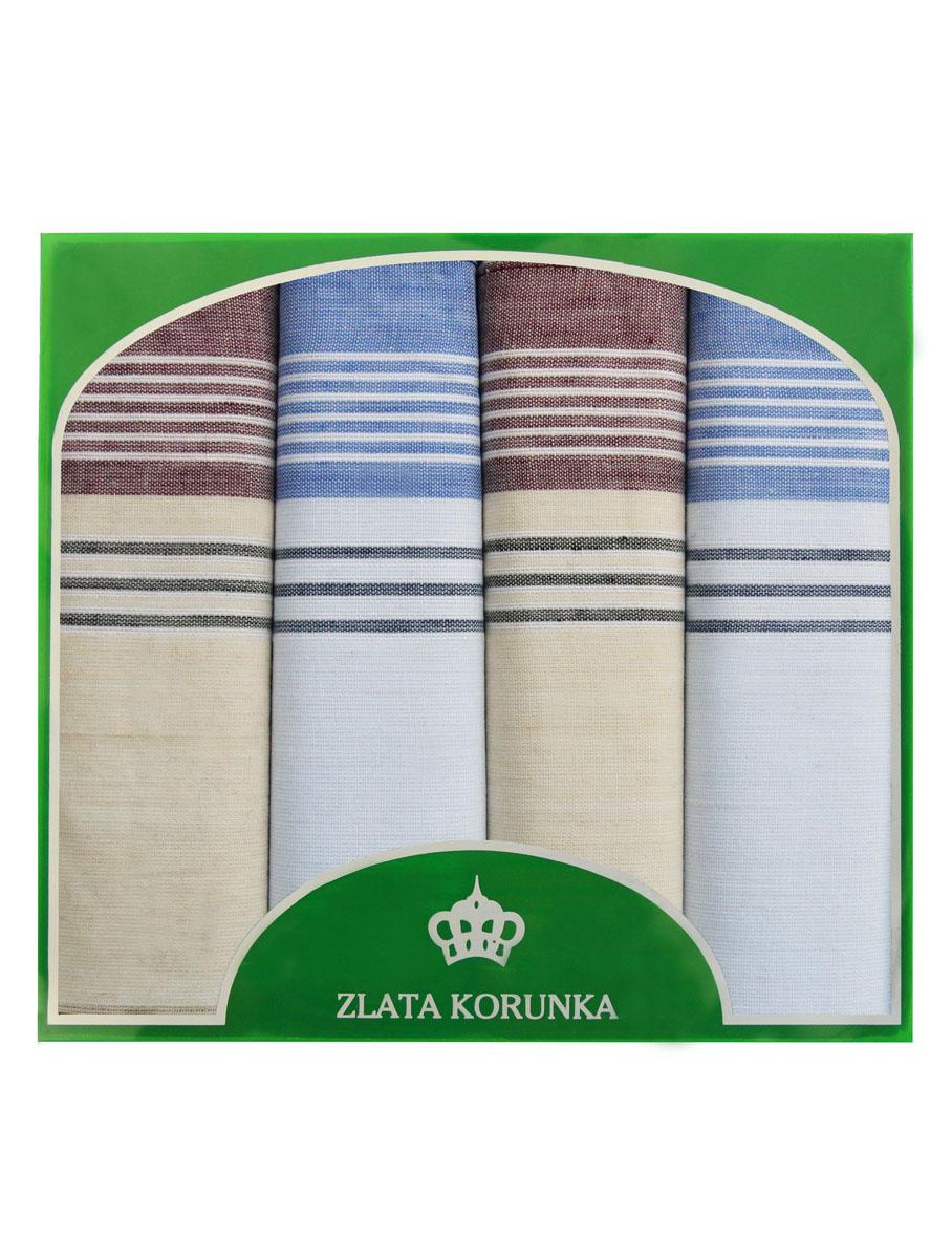 71419-6 Zlata Korunka Носовой платок мужской, цвет: мультиколор, 34х34 см, 4 шт71419-6Платки носовые мужские в упаковке по 4 шт. Носовые платки изготовлены из 100% хлопка, так как этот материал приятен в использовании, хорошо стирается, не садится, отлично впитывает влагу.