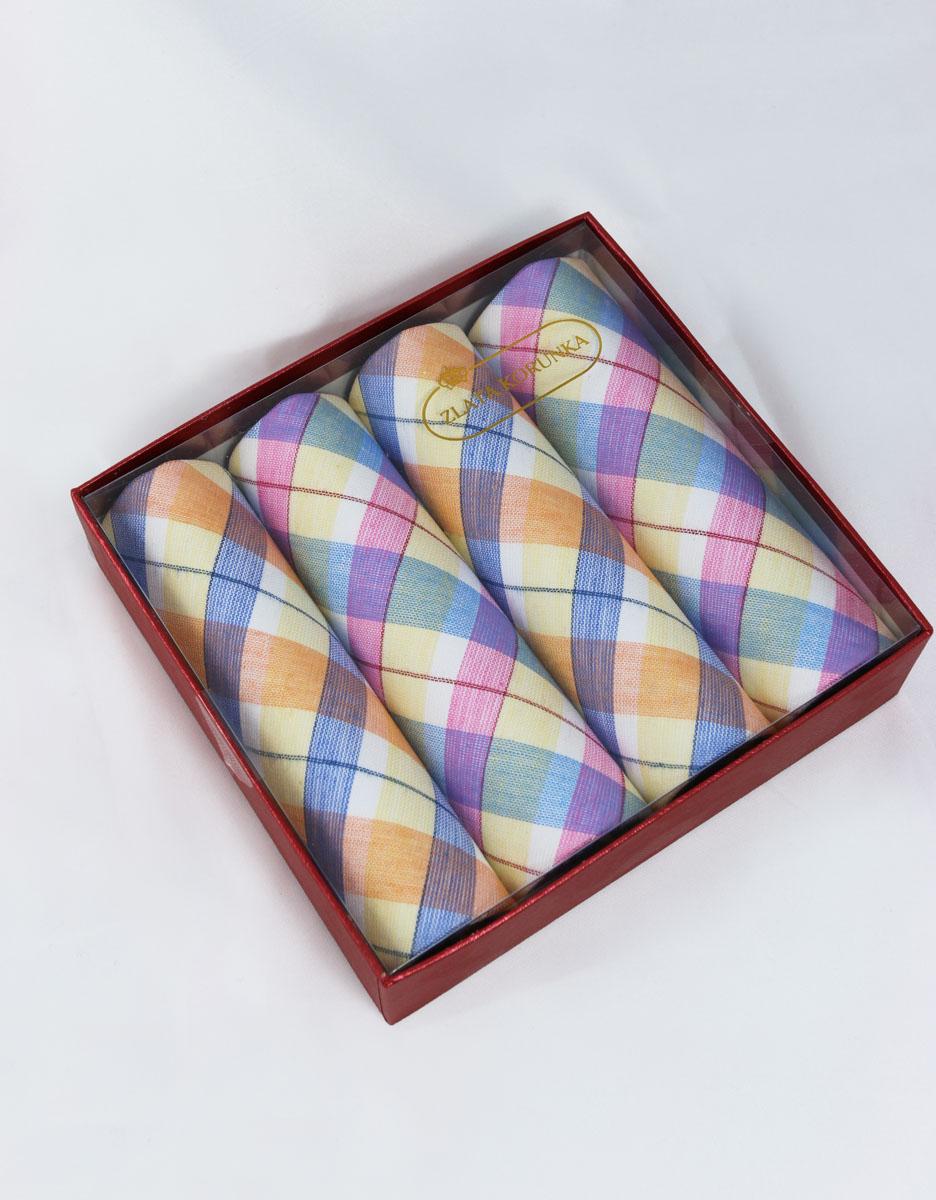 71420-18 Zlata Korunka Носовой платок женский, цвет: мультиколор, 29х29 см, 4 шт71420-18Платки носовые женские в упаковке по 4 шт. Носовые платки изготовлены из 100% хлопка, так как этот материал приятен в использовании, хорошо стирается, не садится, отлично впитывает влагу.