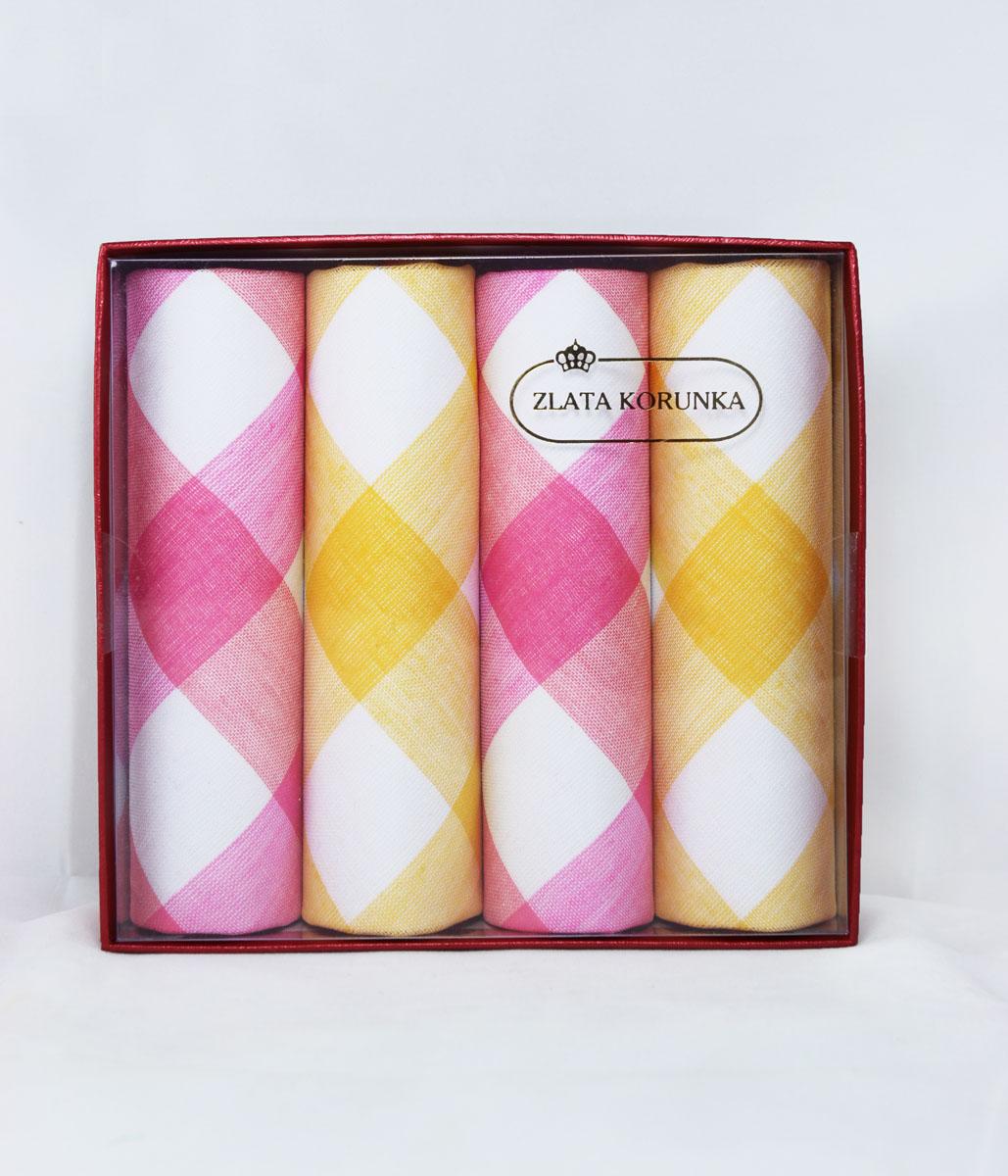 71420-8 Zlata Korunka Носовой платок женский, цвет: мультиколор, 29х29 см, 4 шт71420-8Платки носовые женские в упаковке по 4 шт. Носовые платки изготовлены из 100% хлопка, так как этот материал приятен в использовании, хорошо стирается, не садится, отлично впитывает влагу.