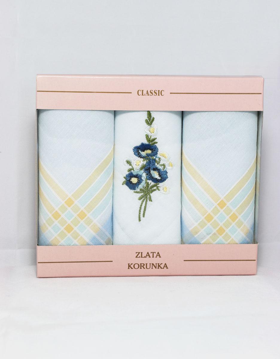 90329-47 Zlata Korunka Носовой платок женский, цвет: мультиколор, 29х29 см, 3 шт90329-47Платки носовые женские в упаковке по 3 шт. Носовые платки изготовлены из 100% хлопка, так как этот материал приятен в использовании, хорошо стирается, не садится, отлично впитывает влагу.
