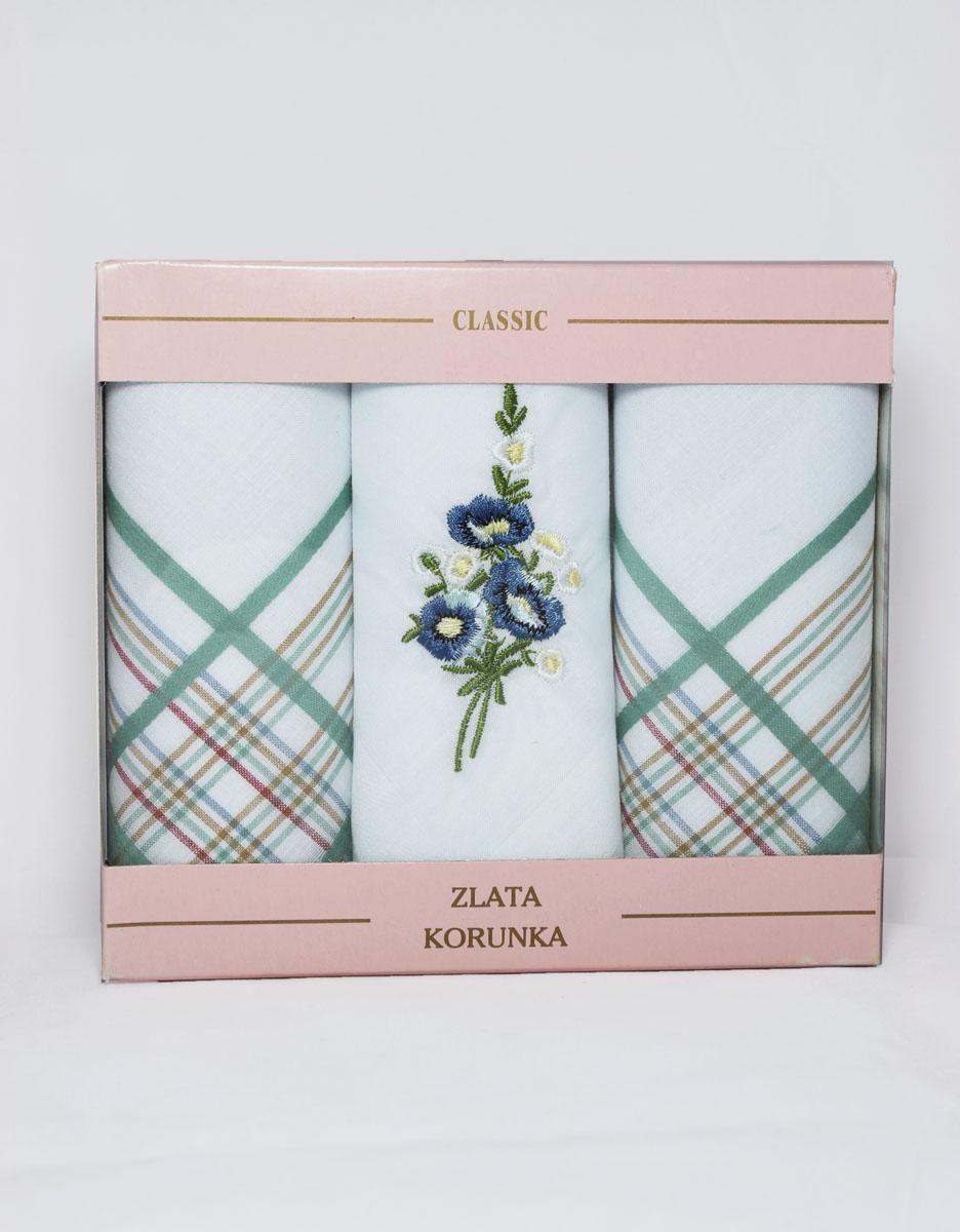 90329-52 Zlata Korunka Носовой платок женский, цвет: мультиколор, 29х29 см, 3 шт90329-52Платки носовые женские в упаковке по 3 шт. Носовые платки изготовлены из 100% хлопка, так как этот материал приятен в использовании, хорошо стирается, не садится, отлично впитывает влагу.