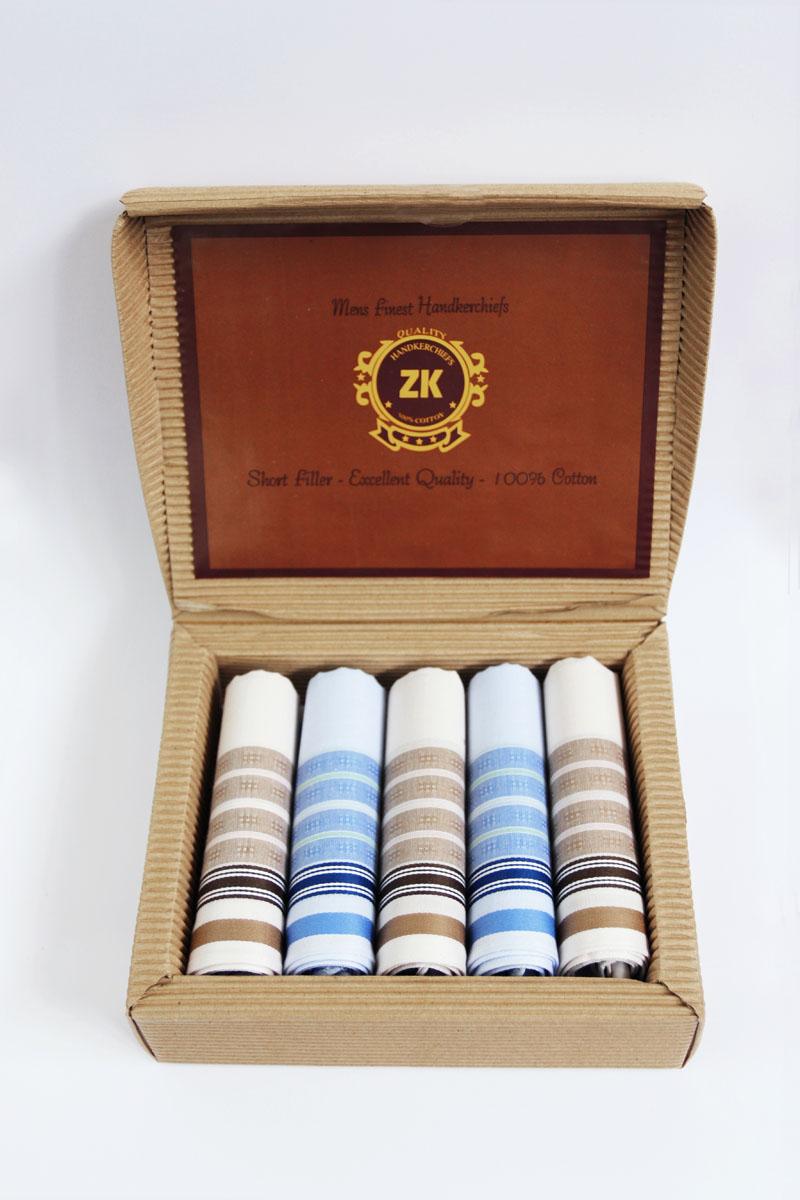 90512-5 Zlata Korunka Носовой платок мужской, цвет: мультиколор, 29х29 см, 5 шт90512-5Платки носовые мужские по 5 шт. в упаковке. Носовые платки изготовлены из 100% хлопка, так как этот материал приятен в использовании, хорошо стирается, не садится, отлично впитывает влагу.