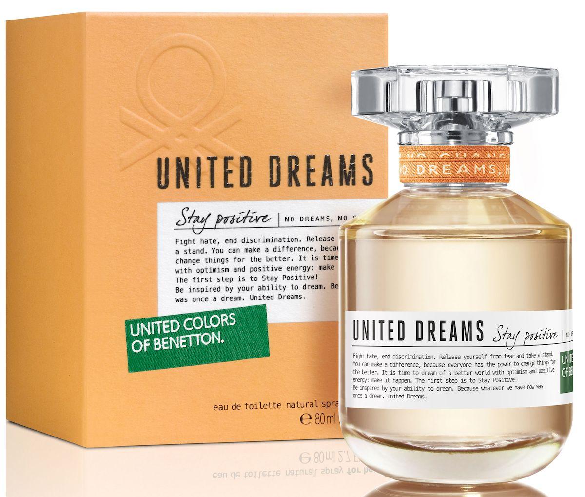 Benetton UD Stay Positive Туалетная вода, женская, 80 мл65092894Мечта изменить мир - основная идея United Dreams. Смелый призыв к действию, который бренд United Colors of Benetton выразил в своей парфюмерной коллекции. Сила общей мечты - идея, вдохновляющая мир поверить в необыкновенную силу, способную достичь невозмо