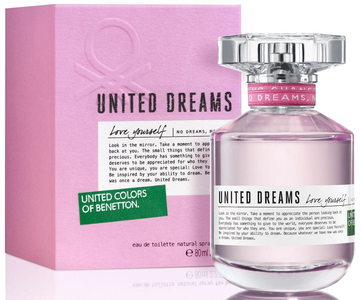 Benetton UD Love Yourself Туалетная вода, женская, 80 мл65092895Мечта изменить мир - основная идея United Dreams. Смелый призыв к действию, который бренд United Colors of Benetton выразил в своей парфюмерной коллекции. Сила общей мечты - идея, вдохновляющая мир поверить в необыкновенную силу, способную достичь невозмо
