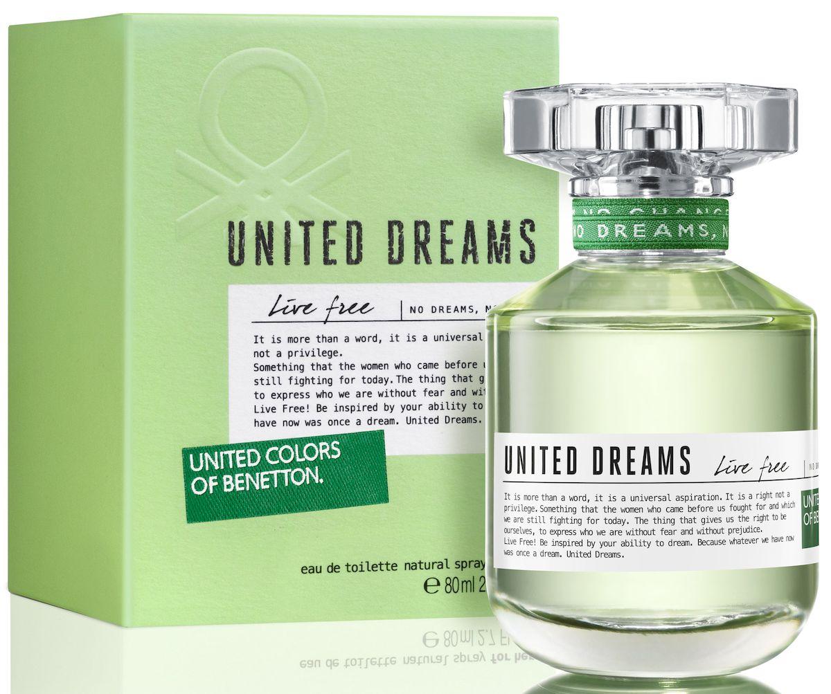 Benetton UD Live Free Туалетная вода, женская, 80 мл65092896Мечта изменить мир - основная идея United Dreams. Смелый призыв к действию, который бренд United Colors of Benetton выразил в своей парфюмерной коллекции. Сила общей мечты - идея, вдохновляющая мир поверить в необыкновенную силу, способную достичь невозмо