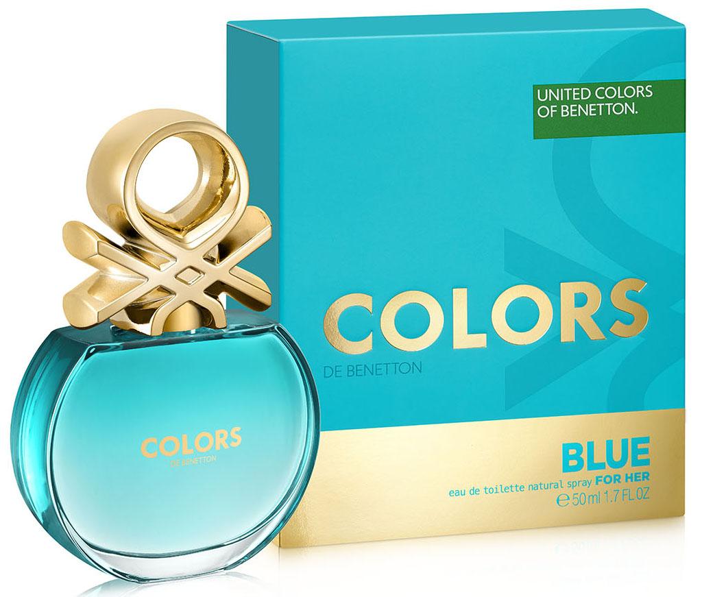 Benetton Colors BLUE Туалетная вода, женская, 50 мл65113753Аромат в бирюзовом флаконе раскрывается яркой, искристой смесью севильского апельсина и энергичного юдзу. Женственные ноты нероли и характерные ноты чая матэ наделяют его элегантностью, подчеркнутой прозрачной фрезией. В базе чистая и чувственная свежесть