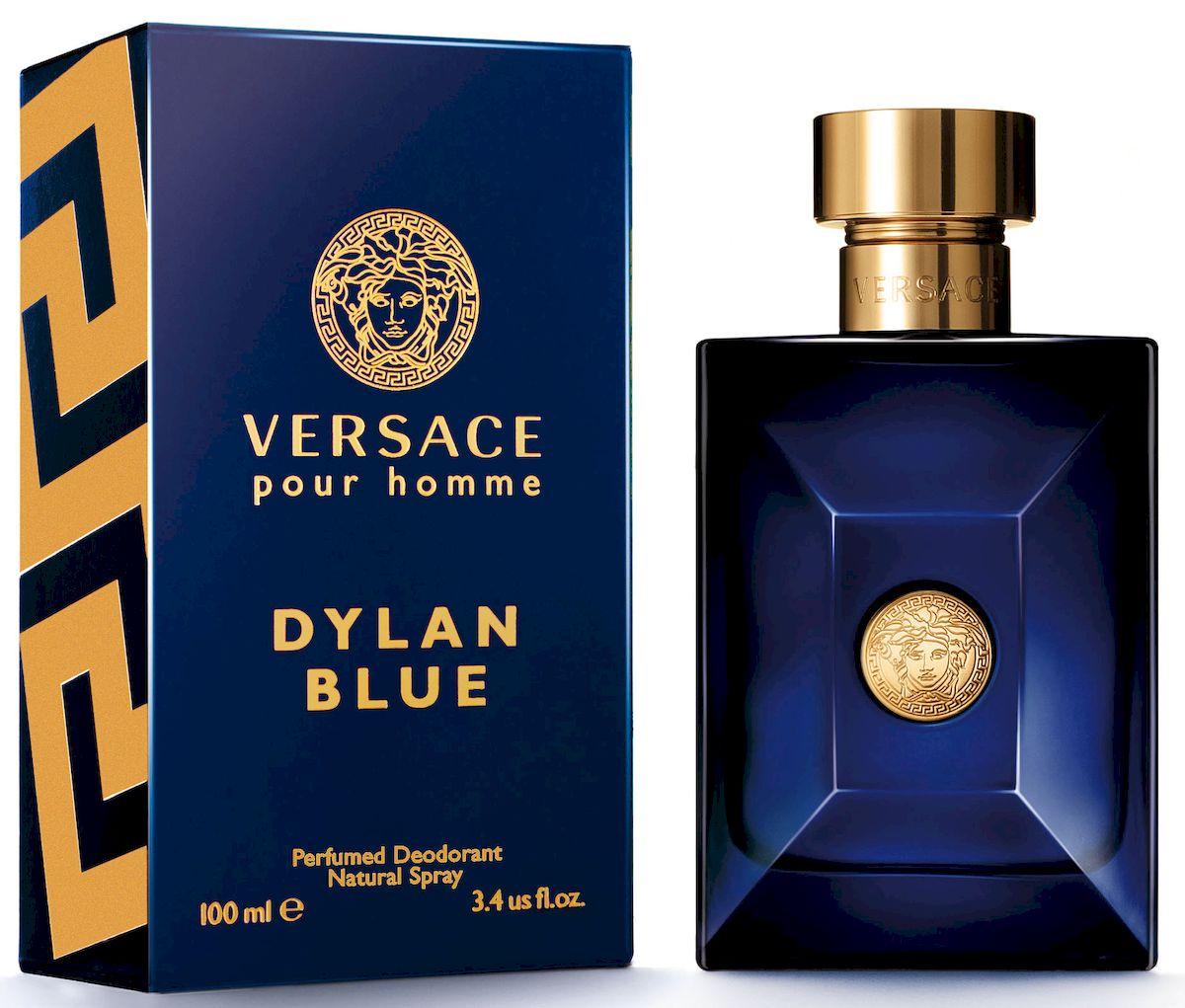 Versace Dylan Blue Дезодорант спрей 100 мл721020Уникальность этого фужерного аромата заключается в ярком фужерном шлейфе, неповторимом сочетании природных компонентов и синтетических молекул последнего поколения. Аромат: древесный, ароматический, фужерный.