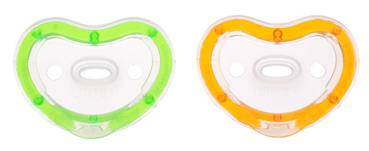 Munchkin Пустышка силиконовая ортодонтическая Latch от 3 до 6 месяцев цвет зеленый оранжевый 2 шт11902_зеленый, оранжевыйСиликоновую ортодонтическую пустышку Munchkin Latch можно использовать с 3-го месяца жизни малыша. Она разработана детскими стоматологами и мамами, которые стремились создать легкую и удобную для ребенка пустышку. Пустышка, изготовленная из силикона, способствует правильному формированию зубов. Она невероятно легкая, благодаря чему ребенку удобно держать ее во рту. Пустышка максимально повторяет форму соска материнской груди, диск в форме сердечка не давит на носик малыша. Не содержит бисфенол А. Рекомендуемый возраст: от 3 до 6 месяцев. В комплекте 2 пустышки.