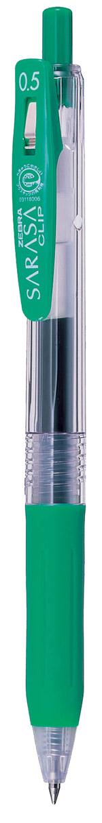 Zebra Ручка гелевая Sarasa Clip цвет зеленый306 306050Достоинство ручки Zebra Sarasa Clip - мягкость и плавность письма, аккуратные тонкие линии. Несомненный плюс этой модели - клип-прищепка, который позволяет прикреплять ручку к поверхностям практически любой толщины. Ручкой удобно писать: приталенный корпус с рифлением дает дополнительный контроль при письме. Каплевидная передняя часть с каучуковой подушечкой для пальцев предотвращает усталость руки. Диаметр шарика у этой модели всего 0,5 мм, что гарантирует очень тонкую линию письма.