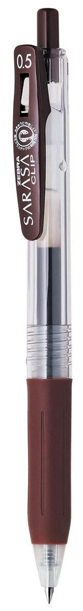 Zebra Ручка гелевая Sarasa Clip цвет коричневый306 306080Достоинство ручки Zebra Sarasa Clip - мягкость и плавность письма, аккуратные тонкие линии. Несомненный плюс этой модели - клип-прищепка, который позволяет прикреплять ручку к поверхностям практически любой толщины. Ручкой удобно писать: приталенный корпус с рифлением дает дополнительный контроль при письме. Каплевидная передняя часть с каучуковой подушечкой для пальцев предотвращает усталость руки. Диаметр шарика у этой модели всего 0,5 мм, что гарантирует очень тонкую линию письма.