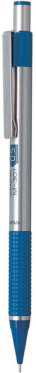 Zebra Карандаш механический M-301 цвет корпуса серебристый синий317 203020Механический карандаш Zebra M-301 идеален для письма и черчения. Корпус карандаша круглой формы выполнен из нержавеющей стали. Пластиковая область захвата с фигурным рифлением обеспечивает комфорт при письме. Дизайн соответствует авторучке F-301. В съемном защитном колпачке на конце корпуса карандаша находится ластик. Мягкое комфортное письмо и тонкие линии при написании принесут вам максимум удовольствия. Порадуйте друзей и знакомых, оказав им столь стильный знак внимания.