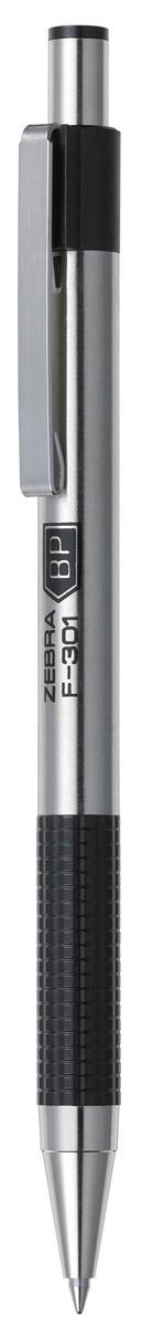 Zebra Ручка шариковая F-301 цвет корпуса серебристый черный305 104010Автоматическая шариковая ручка Zebra F-301 с корпусом из нержавеющей стали прослужит долго. Пластиковая подушка с фигурным рифлением обеспечивает комфорт при письме. Хромированный стальной зажим никогда не отломится. Сменный стержень имеет повышенный объем чернил.