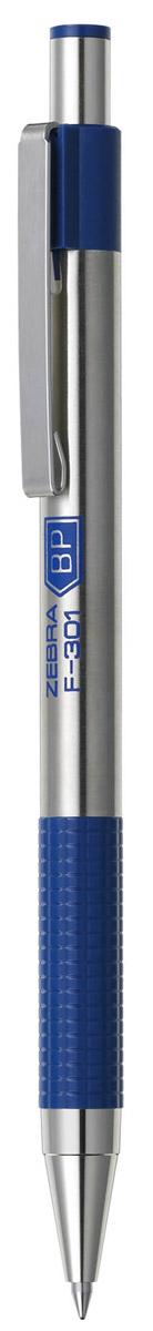 Zebra Ручка шариковая F-301 цвет корпуса серебристый синий305 104020Автоматическая шариковая ручка Zebra F-301 с корпусом из нержавеющей стали прослужит долго. Пластиковая подушка с фигурным рифлением обеспечивает комфорт при письме. Хромированный стальной зажим никогда не отломится. Сменный стержень имеет повышенный объем чернил.