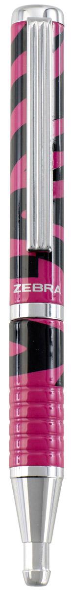 Zebra Ручка шариковая Slide Design цвет корпуса фуксия черный305 072341Стильный дизайн шариковой ручки Zebra Slide Design, имитирующий расцветку зебры, бесспорно придется по вкусу любителям оригинальных, эксклюзивных вещей. В рабочем состоянии ручка раздвигается, приобретая длину обычной ручки, в закрытом виде очень компактна. Модель идеально подходит для записных книжек и органайзеров.