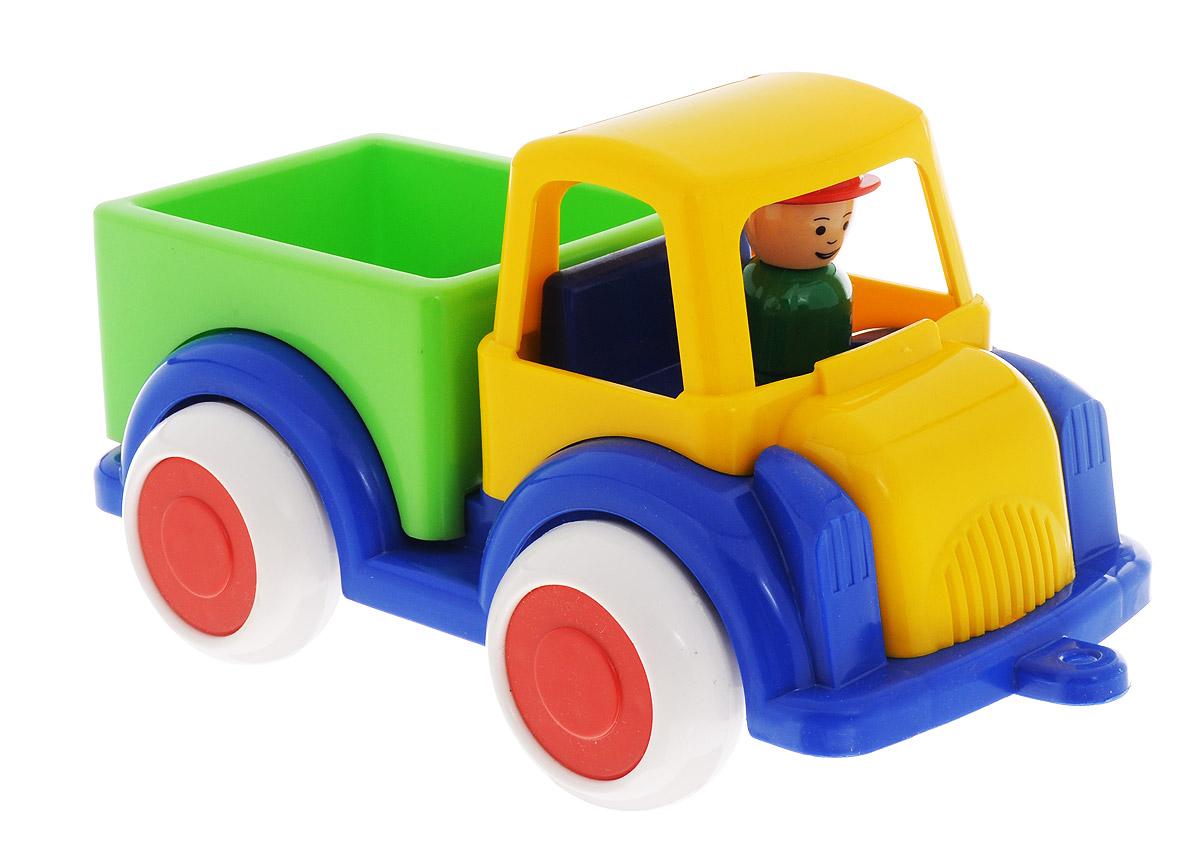 Форма ГрузовикС-63-ФГрузовик Форма станет главным развлечением вашего малыша. Выполненная из качественного прочного пластика, игрушка долго прослужит малышу. Плотные массивные колеса из ПВХ, напоминающие резиновые, обеспечивают плавность хода машинки, а также устойчивость. Машинка очень яркая и безопасная, все углы закруглены во избежание травмирования. Находящаяся в кабине фигурка водителя вынимается.