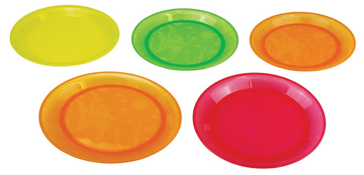 Munchkin Набор детских тарелок 5 шт11390_вид 2Детские тарелки Munchkin, выполненные из безопасного пластика (не содержит бисфенол А), прекрасно подойдут для кормления малыша и самостоятельного приема им пищи. В набор входят пять плоских тарелочек разных цветов: 2 оранжевые, красная, зеленая, желтая. Они украшены дизайнерским рисунком в виде рыб, чтобы добавить удовольствия в любое блюдо, которые вы готовите. Также они прекрасно подходят для мытья на верхней подставке в посудомоечной машине Кредо Munchkin, американской компании с 20-летней историей: избавить мир от надоевших и прозаических товаров, искать умные инновационные решения, которые превращает обыденные задачи в опыт, приносящий удовольствие. Понимая, что наибольшее значение в быту имеют именно мелочи, компания создает уникальные товары, которые помогают поддерживать порядок, организовывать пространство, облегчают уход за детьми - недаром компания имеет уже более 140 патентов и изобретений, используемых в создании ее неповторимой и...