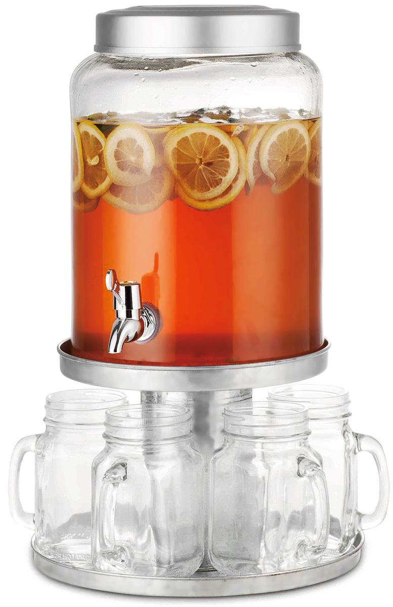 Диспенсер для напитков SinoGlass, с 6 стаканами98460000Диспенсер для напитков SinoGlass выполнен из высококачественного металла и стекла. Такой диспенсер предназначен для подачи холодных напитков. Он оснащен металлическим краником для более удобного разлива напитков. В комплект входят 6 стеклянных стаканов, которые оснащены удобной ручкой, а их горлышко оформлено в виде резьбы. Диспенсер и стаканы подаются вместе на металлической подставке. Оригинальный дизайн диспенсера позволит украсить любую кухню, внеся разнообразие, как в строгий классический стиль, так и в современный кухонный интерьер. Объем диспенсера: 7,9 л. Диаметр диспенсера (по верхнему краю): 15,5 см. Высота диспенсера: 29 см. Объем стакана: 550 мл. Диаметр стакана (по верхнему краю): 6 см. Высота стакана: 13,5 см. Размер подставки: 26 х 26 х 17,5 см.