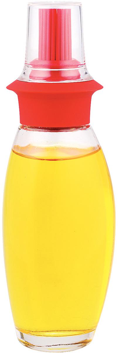 Емкость для масла SinoGlass, с кисточкой, цвет: прозрачный, красный, 250 мл8332006Емкость для масла SinoGlass изготовлена из прочного стекла. Специальная силиконовая кисточка позволяет равномерно распределять масло на противне или сковороде. Кисточка съемная, поэтому емкость также отлично подойдет для заправки салатов. Для гигиеничного хранения кисточка закрывается прозрачной крышкой. Такая емкость не только поможет хранить масло, но и отлично дополнит интерьер кухни. Высота (с учетом крышки): 19 см.