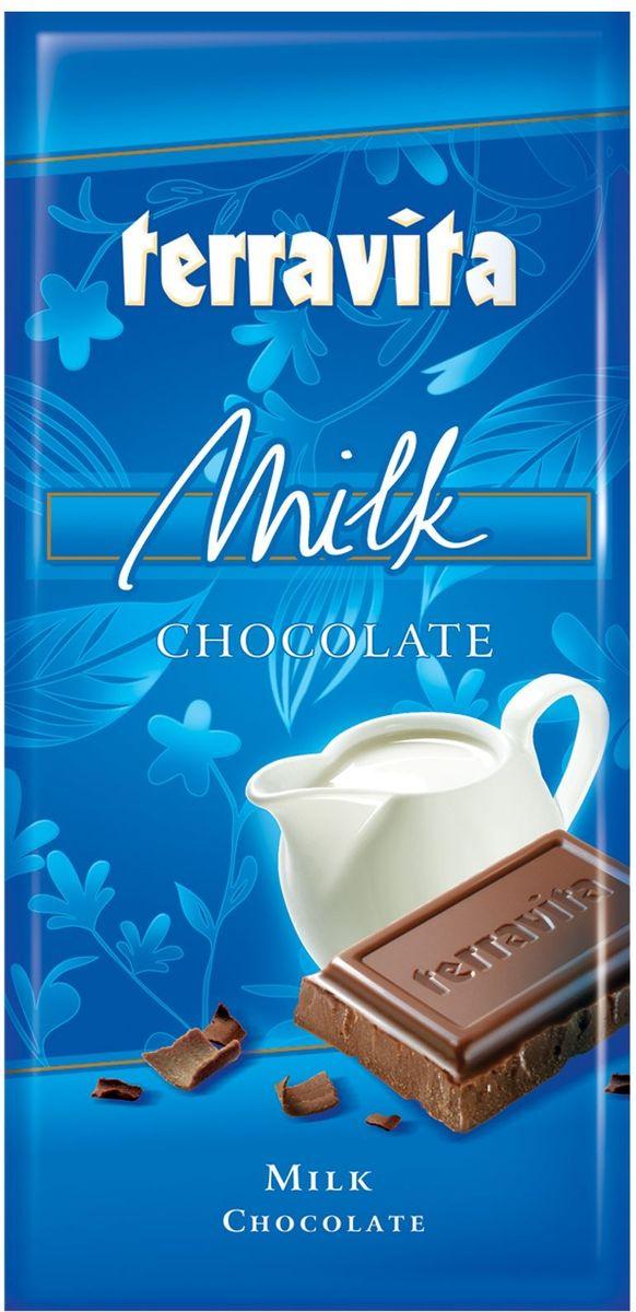 Terravita Шоколад молочный, 100 г15826Идеальный баланс ингредиентов в молочном шоколаде Terravita делает его таким сливочно-вкусным, нежным и ароматным, что полностью оправдывает название. Отличное качество шоколада подарит вам незабываемые ощущение вкуса и аромата. Шоколад - исключительно вкусный способ получить заряд энергии. Только один кусочек обеспечивает массу энергии и повышает настроение. Он также утолит голод и послужит хорошим поводом для чаепития с вашими близкими.