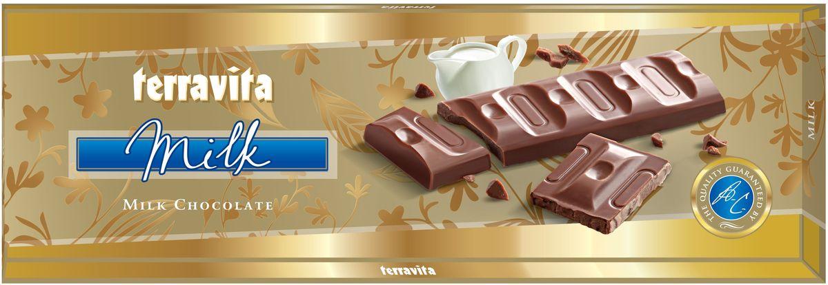 Terravita Шоколад молочный, 225 г9928Идеальный баланс ингредиентов в молочном шоколаде Terravita делает его таким вкусным, нежным и ароматным, что полностью оправдывает название. Отличное качество шоколада подарит вам незабываемые ощущение вкуса и аромата. Только один кусочек обеспечивает массу энергии и повышает настроение. Он также утолит голод и послужит хорошим поводом для чаепития с друзьями и близкими.